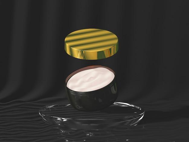Prodotto cosmetico sul podio circolare con tavolo nero