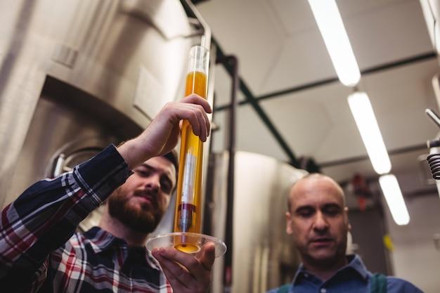 Produttore che esamina birra in tubo al birrificio