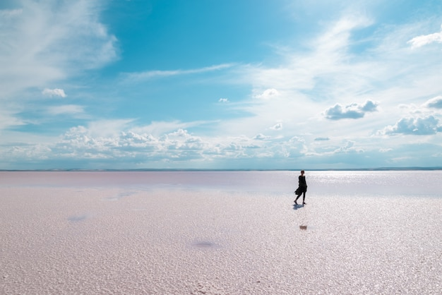 Profili la donna che cammina sulla destinazione turistica famosa salt lake