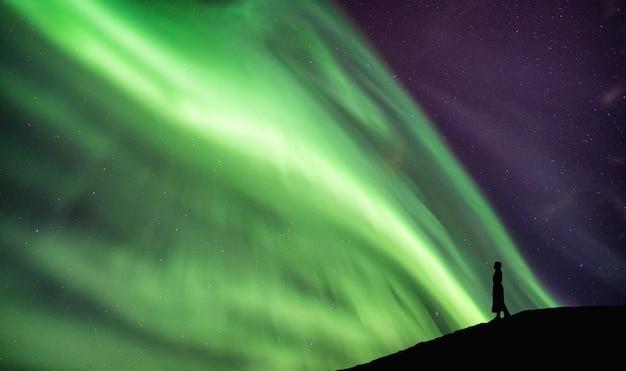 Profili la donna che sta sulla scogliera con i borealis dell'aurora che ballano sul cielo