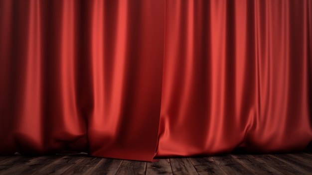 Progettazione della decorazione delle tende di velluto di seta rossa di lusso dell'illustrazione 3d, idee. red stage curtain per scenografie teatrali o liriche. mock-up per il tuo progetto