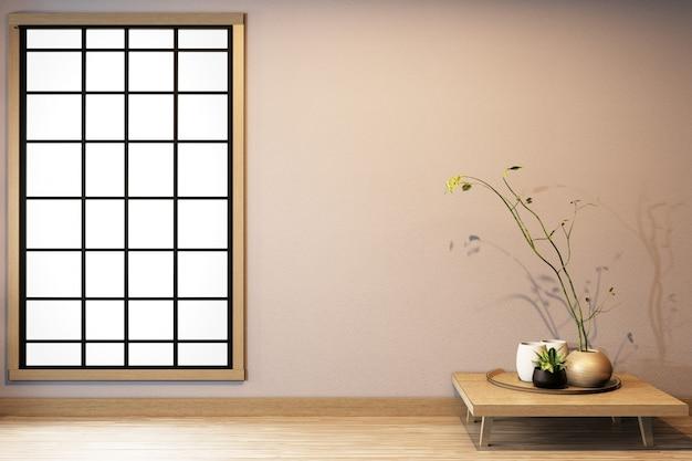 Progettazione della finestra su bianco vuoto della stanza su interior design giapponese del pavimento di legno rappresentazione 3d
