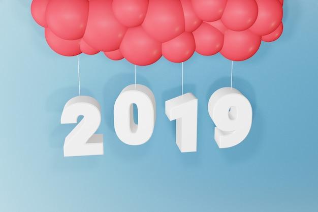 Progettazione della rappresentazione 3d, buon anno 2019, progettazione del testo e palloni su un fondo blu.