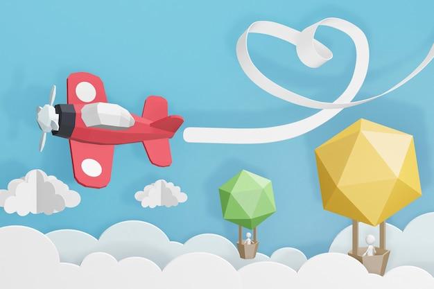 Progettazione della rappresentazione 3d, nastro del cuore con il volo dell'aereo di aria rosa e pallone nel cielo.