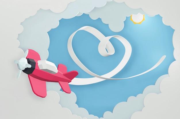 Progettazione della rappresentazione 3d, nastro del cuore con l'aereo rosa che vola nel cielo.