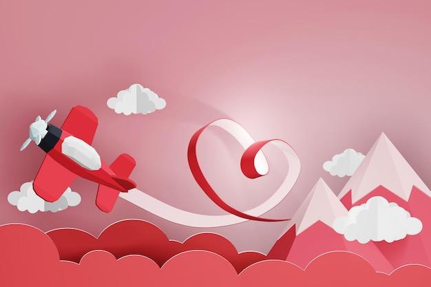 Progettazione della rappresentazione 3d, nastro del cuore con l'aereo rosso che vola nel cielo.