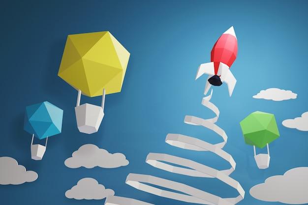 Progettazione della rappresentazione 3d, stile di arte della carta di lancio di rocket nel cielo su una priorità bassa blu.