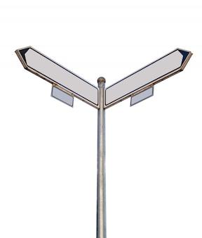Progettazione di due modelli di freccia vuota sul palo della strada all'aperto per mostrare le direzioni
