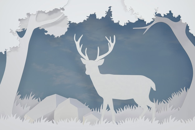 Progettazione di rendering 3d, arte di carta e stile artigianale di cervi nella foresta.