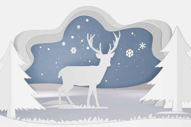 Progettazione di rendering 3d, arte di carta e stile artigianale di cervo nella foresta con fiocco di neve.
