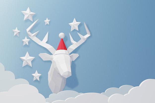 Progettazione di rendering 3d, arte di carta e stile artigianale di testa di cervo che porta il cappello di babbo natale.