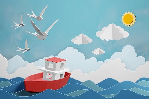 Progettazione di rendering 3d, la barca sta navigando nel mare sotto la luce del sole.