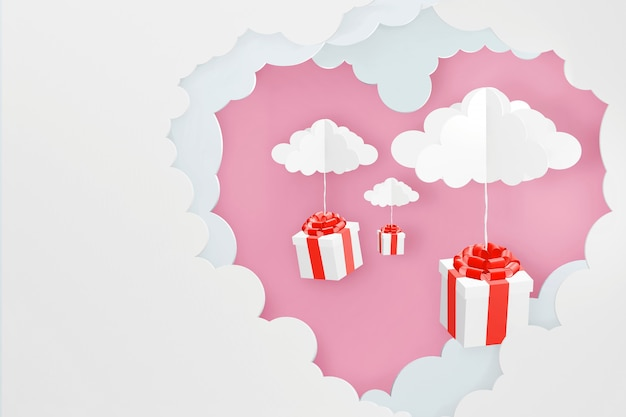 Progettazione di rendering 3d, stile di arte della carta di nuvola a forma di cuore e scatola regalo cadere.