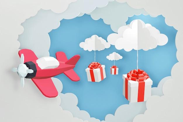 Progettazione di rendering 3d, stile di arte della carta di volo aereo rosa e scatola regalo spargere nel cielo.