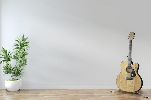 Progettazione minima di zen della stanza vuota con la chitarra e le piante sulla stanza vuota di legno del pavimento. rendering 3d