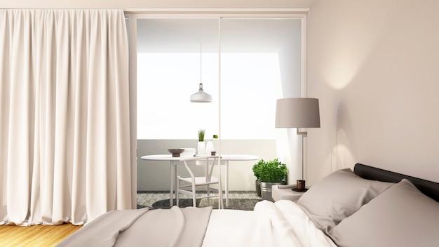 Progettazione pulita di tono bianco della camera da letto - rappresentazione 3d