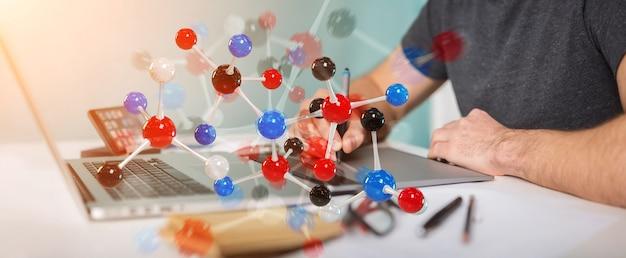 Progettista grafico che utilizza il rendering 3d della struttura molecolare moderna