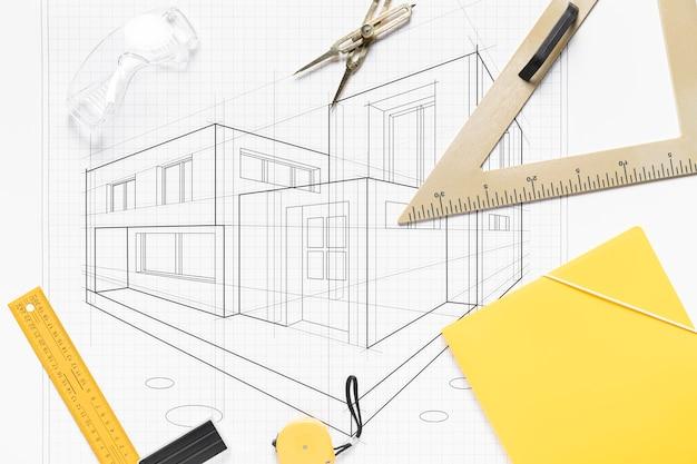 Progetto architettonico con composizione di strumenti diversi