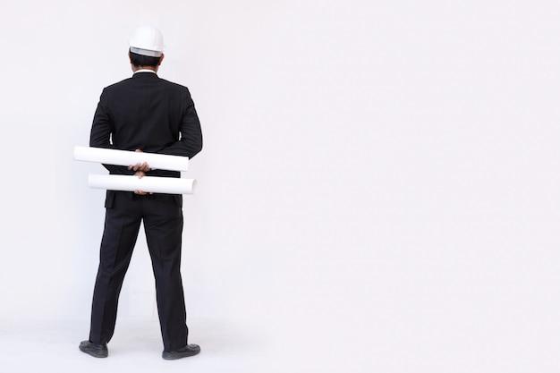 Progetto di costruzione di pianificazione uomo d'affari