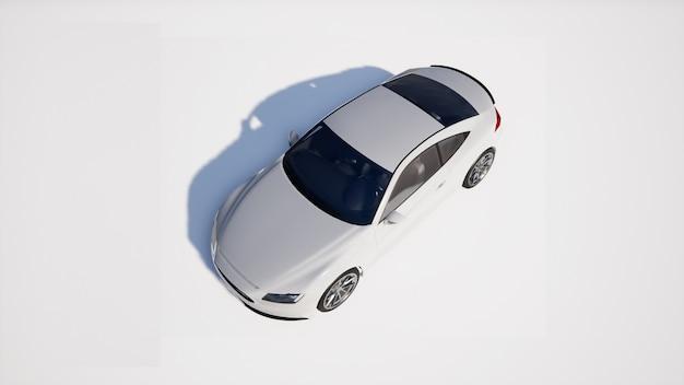 Prospettiva auto bianca su sfondo bianco