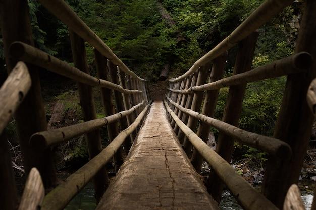 Prospettiva di punto di vista su un ponte sospeso