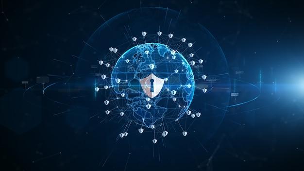 Proteggi la sicurezza informatica dell'icona, la protezione della rete di dati digitale, la connessione dati di rete digitale della tecnologia, il futuro del cyberspazio digitale concetto di fondo.