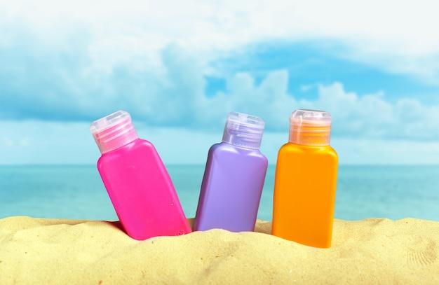 Protezione solare sulla spiaggia