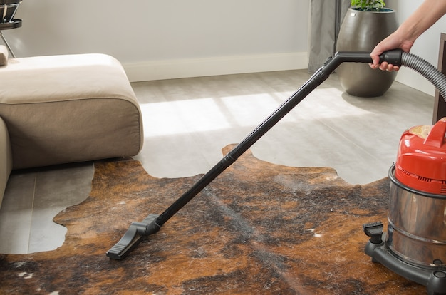 Pulire la casa e aspirare il pavimento con l'aspirapolvere