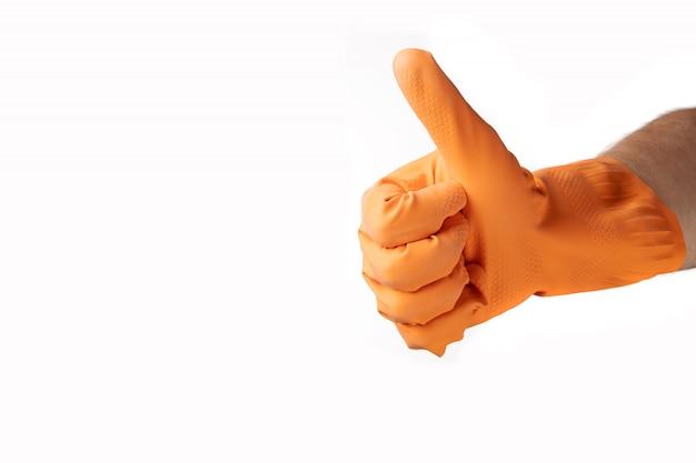 Pulizia gesto delle mani, guanto di gomma arancione, per casa, giardino, protezione. sfondo bianco isolato.