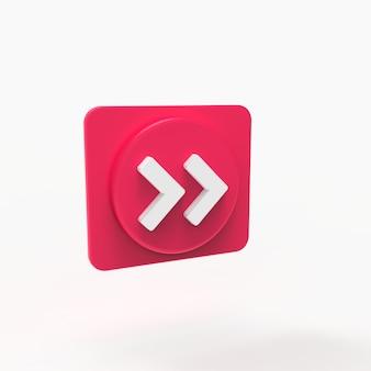 Pulsante avanti riprodurre musica concetto social media visualizzazione 3d