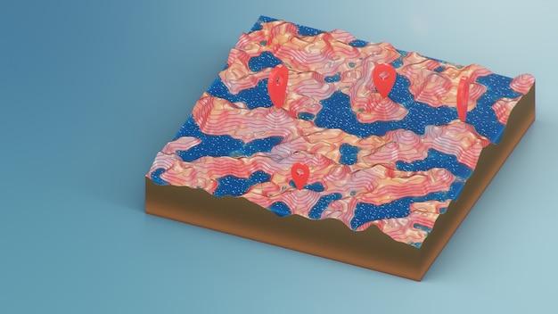 Puntatori rossi, indicatori sulla navigazione della mappa 3d. linee di contorno su una mappa topografica