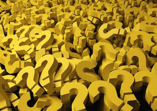 Punti interrogativi gialli sullo sfondo