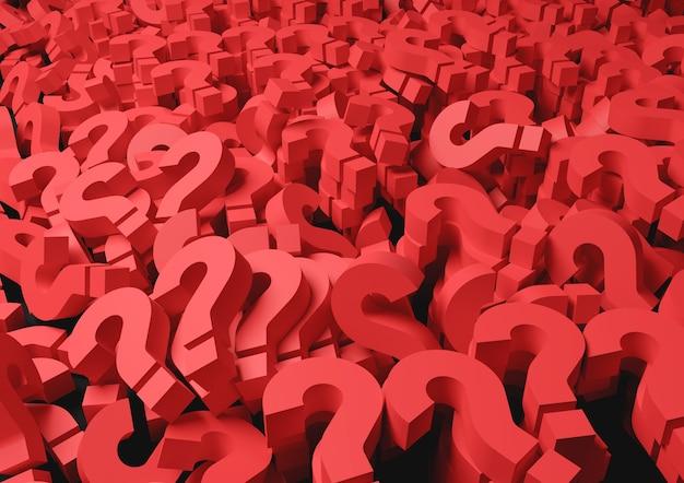 Punti interrogativi rossi sullo sfondo
