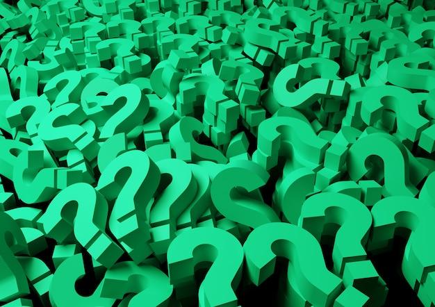 Punti interrogativi verdi sullo sfondo