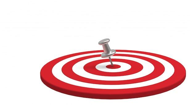 Puntina d'argento posta nell'obiettivo isolato su bianco. obiettivo aziendale. rendering 3d.