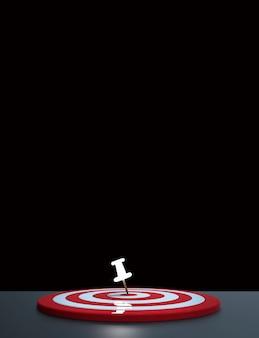 Puntina luminosa posizionata nel bersaglio su sfondo scuro. concetto di target aziendale. rendering 3d.
