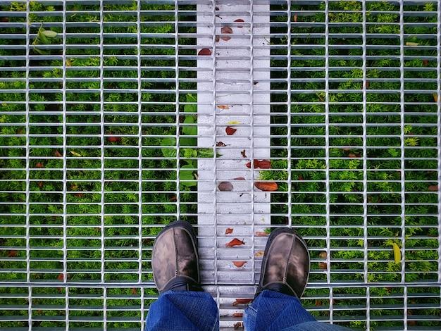 Punto di vista dell'angolo alto dell'uomo in abbigliamento casuale che sta sul pavimento della griglia del metallo con le piante verdi sotto