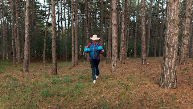 Punto di vista posteriore della donna turistica più anziana con lo zaino in foresta
