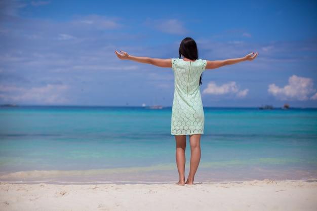 Punto di vista posteriore di bella ragazza in vestito che cammina come un uccello sulla spiaggia