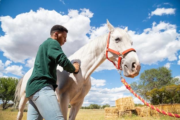 Punto di vista posteriore di giovane maschio afroamericano che usando spazzola per preoccuparsi per i capelli del cavallo bianco sul ranch di giorno nuvoloso