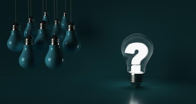 Punto interrogativo. concetto di confusione, domanda o soluzione, rendering 3d