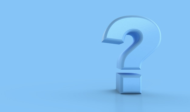 Punto interrogativo su blu. concetto di confusione, domanda o soluzione, rendering 3d