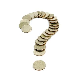 Punto interrogativo tailandia di baht delle monete isolato su fondo bianco