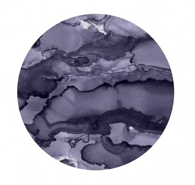Punto luminoso ad acquerello. cerchio grigio dipinto. struttura astratta isolata su bianco. decorazione pittorica.