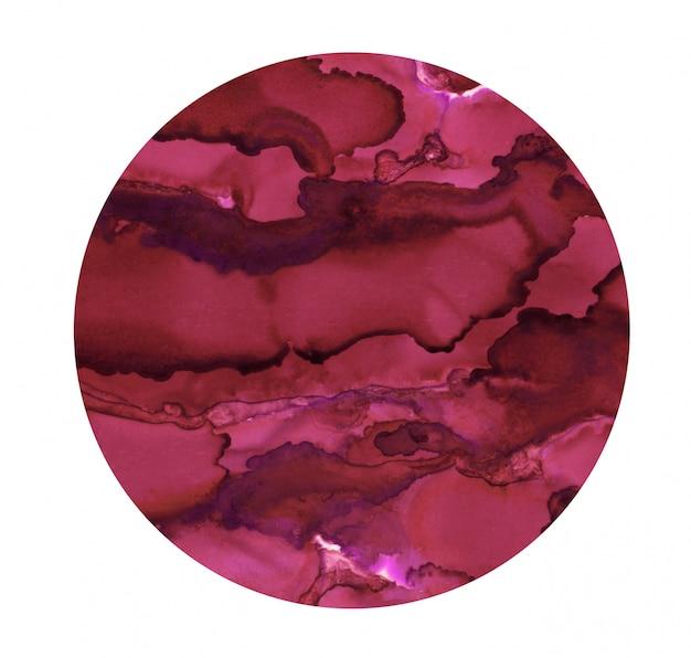 Punto luminoso ad acquerello. cerchio rosa scuro dipinto. struttura astratta isolata decorazione pittorica.