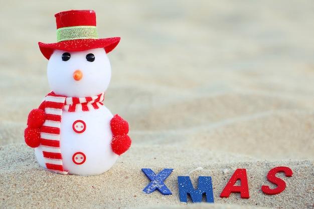 Pupazzi di neve e messaggi di natale sulla sabbia