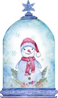 Pupazzo di neve dell'acquerello nel globo blu della neve di natale. simbolo del nuovo anno. biglietto natalizio.