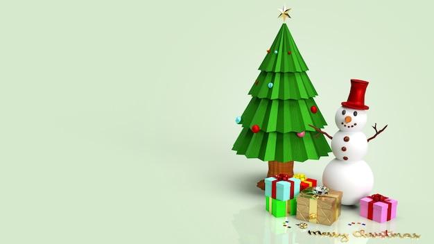 Pupazzo di neve e albero di natale rendering 3d