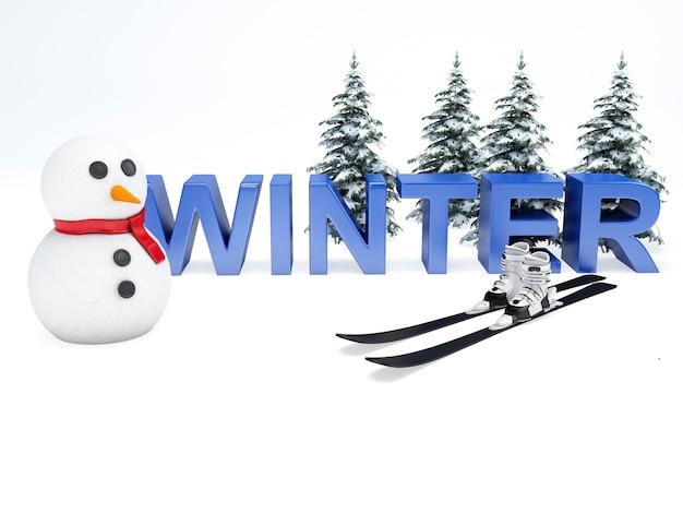Pupazzo di neve e testo invernale.