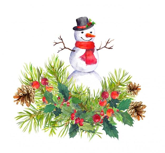 Pupazzo di neve in cappello a cilindro, sciarpa rossa, abete, vischio